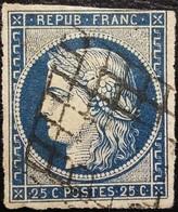 FRANCE Y&T N°4a Cérès 25c Bleu Foncé. Oblitéré Grille - 1849-1850 Ceres