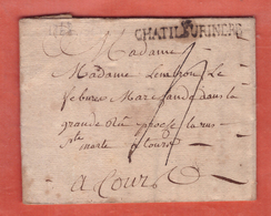 FRANCE LETTRE DE 1768 DE CHATILLON SUR INDRE POUR TOURS - Postmark Collection (Covers)