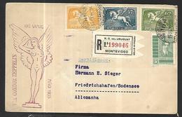 Uruguay Lettre Recommandée  18 12  1935 Condor Zeppelin De Montevideo Vers Friedrichshafen Am Bodensee - Uruguay