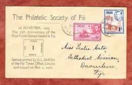 Vordruckumschlag, MiF Kanu U.a., Nausori 1945 (61335) - Fidschi-Inseln (...-1970)