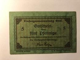 Allemagne Notgeld Allemagne Ettal 5 Pfennig - [ 3] 1918-1933 : République De Weimar