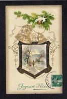 Noël / Joyeux Heureux Noël / Paysage,cloches,gauffrée - Noël