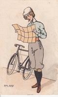 CPA Aquarellée Peinte à La Main Femme Lisant Une Carte Bicyclette Vélo Cyclisme Cycling Radsport Illustrateur (2 Scans) - Cycling