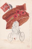 CPA Aquarellée Peinte à La Main Femme Bicyclette Vélo Mode 1909 Chapeau Hat Cycling Radsport Illustrateur RAY (2 Scans) - Cycling