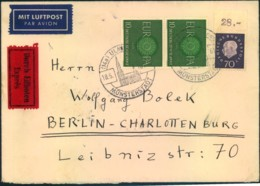 1961, Luftpost-Eilbrief Mit 70 Pfg. Heuss III Und 2-mal CEPT (Mi-Nr. 305 WOR,337 (2)) In Berlin Per Rohrpost - BRD