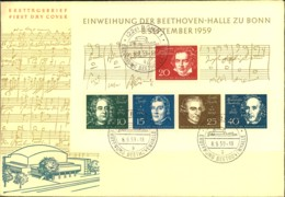 1959, BUNDESREPUBLIK DEUTSCHLAND; FDC Beethoenblock (Michel 140,-) - Musique