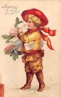 Thème Noël : Père Noël    Enfant Cadeaux      Carte Gaufrée     (voir Scan) - Noël