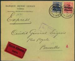 1915, Express From TOURNAI To BRUXELLES With Censor To Germany - Guerre 14-18