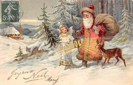 Thème Noël : Père Noël     Ange  Carte Gaufrée   (voir Scan) - Noël