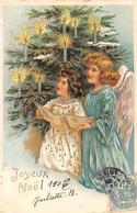 Thème Noël : Père Noël     Ange   Sapin  Carte Gaufrée   (voir Scan) - Noël