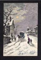 Noël / Joyeux Heureux Noël / Paysage,flocons De Neige En Relief  / Illustrateur Signé  ?  Mais à Identifier - Noël