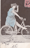 CPA Femme Sur Sa Bicyclette Vélo Cyclisme Cycliste Cycling Radsport (2 Scans) - Cycling