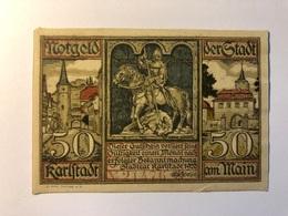 Allemagne Notgeld Allemagne Karlstadt 50 Pfennig - [ 3] 1918-1933 : République De Weimar