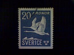 Sweden (Sverige), Scott #C8, Used (o), 1953 Air Mail, Flying Swans, 20k, Bright Ultramarine And White - Sweden