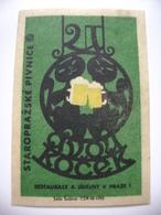 "Czechoslovakia  Matchbox Label 1964 - ""U Dvou Kocek"" - Old Prague Pub Beerhouse Bierstube Brasserie - Matchbox Labels"