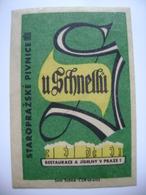 "Czechoslovakia  Matchbox Label 1964 - ""U Schnellu"" - Old Prague Pub Beerhouse Bierstube Brasserie - Matchbox Labels"