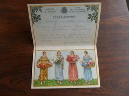 ANCIENNE FEUILLE TELEGR. /  MARIAGE  / FAM.  NOBEN   / SERAING 1946 - Stamped Stationery