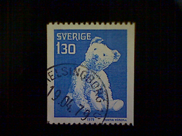 Sweden (Sverige), Scott #1270 Used (o), 1978, Christmas Issue, Teddy Bear, 1.30k, Blue And White - Sweden