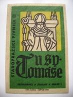 "Czechoslovakia  Matchbox Label 1964 - ""U Sv. Tomase"" - Old Prague Pub Beerhouse Bierstube Brasserie - Matchbox Labels"