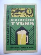 "Czechoslovakia  Matchbox Label 1964 - ""U Zlateho Tygra"" - Old Prague Pub Beerhouse Bierstube Brasserie - Matchbox Labels"
