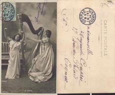 FEMMES  - Jeune Femme Avec Une Harpe - Musique Musicienne - CPA 1904 - Musique
