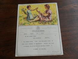 ANCIENNE FEUILLE TELEGR. /  MARIAGE  / FAM.  LEDENT -  FUMET    /  HERSTAL 1955 - Stamped Stationery