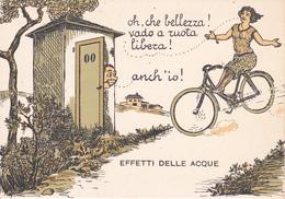 "CPSM  Femme Bicyclette Vélo Cyclisme Cycliste Cycling Radsport W.C. Toilettes Chiottes "" Cagadou"" Illustrateur (2 Scans) - Cycling"