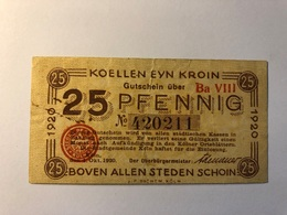 Allemagne Notgeld Allemagne Koln 25 Pfennig - [ 3] 1918-1933 : République De Weimar
