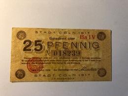Allemagne Notgeld Allemagne Coln 25 Pfennig - [ 3] 1918-1933 : République De Weimar