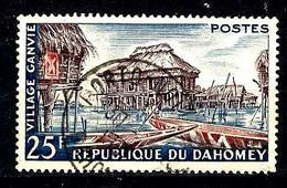 DAHOMEY 155° 25f Violet-brun, Rouge Et Bleu Village Ganvié (10% De La Cote + 015) - Benin - Dahomey (1960-...)