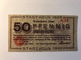 Allemagne Notgeld Allemagne Koln 50 Pfennig - [ 3] 1918-1933 : République De Weimar