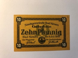 Allemagne Notgeld Allemagne Kosen 10 Pfennig - [ 3] 1918-1933 : République De Weimar