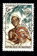 DAHOMEY 182° 15f Bleu-vert, Ocre Et Brun-rouge Féticheur Et Son Python (10% De La Cote + 015) - Benin - Dahomey (1960-...)