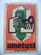 Czechoslovakia  Matchbox Label 1964 - Praha Prague - Hotel Ametyst - Matchbox Labels