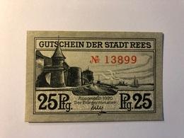 Allemagne Notgeld Allemagne Rees 25 Pfennig - [ 3] 1918-1933 : République De Weimar