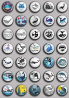 35 X Whale BADGE BUTTON PIN SET 1 (1inch/25mm Diameter) - Animaux