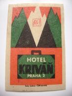 Czechoslovakia  Matchbox Label 1964 - Praha Prague - Hotel Krivan - Matchbox Labels
