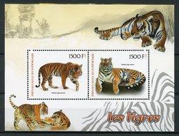 Ivory Coast 2017 MNH Tigers 2v M/S Tigres Big Cats Mammals Wild Animals Stamps - Big Cats (cats Of Prey)