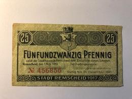 Allemagne Notgeld Allemagne Remscheid 25 Pfennig - [ 3] 1918-1933 : République De Weimar