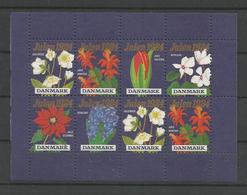 Denmark 1984 Christmas Seals Flowers Small Sheet  ** - Blocks & Sheetlets