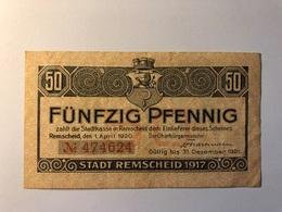 Allemagne Notgeld Allemagne Remscheid 50 Pfennig - [ 3] 1918-1933 : République De Weimar