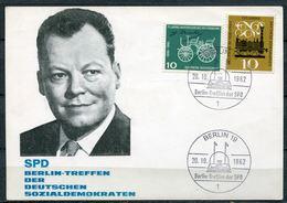 "Germany 1962 Signierte Sonderkarte Willi Brandt,Nobelpreis Mit.Mi.345,63,m.SST""Berlin 19-Berlin-Treffen Der SPD""1 Beleg - BRD"