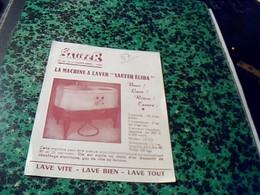 """Publicitée Ancienne Tract Machine A Laver  SAUTER   """"élida """"  Av De La Grande Armée Paris - Publicité"""
