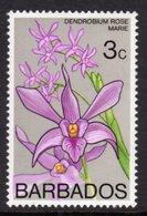 BARBADOS - 1975 3c ORCHID STAMP WMK W14 S/W FINE MNH ** SG 512 - Barbados (1966-...)