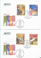 ARGENTINA 2007 POPULAR FESTS DANCE MUSIC HORSES 4 VALUES ON 2 FIRST DAY COVERS - FDC