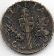 Italy 10 Centesimi 1940   Km 74a  Vf+ - 1861-1946 : Royaume