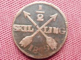 SUEDE Monnaie De 1/2 Skilling 1809 - Suède