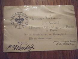 Carte Membre Fondateur De La Société Historico Généalogique Russe En France Année 30 - Vieux Papiers