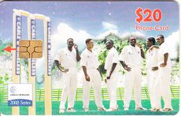 CARIBBEAN ISLANDS(chip) - Cricket Team, Chip GEM6b, Used - Telefoonkaarten