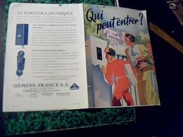 Publicité  Depliant PORTIER ELCTRIQUE SIEMENS  Annee 30////2 Pages - Publicités
